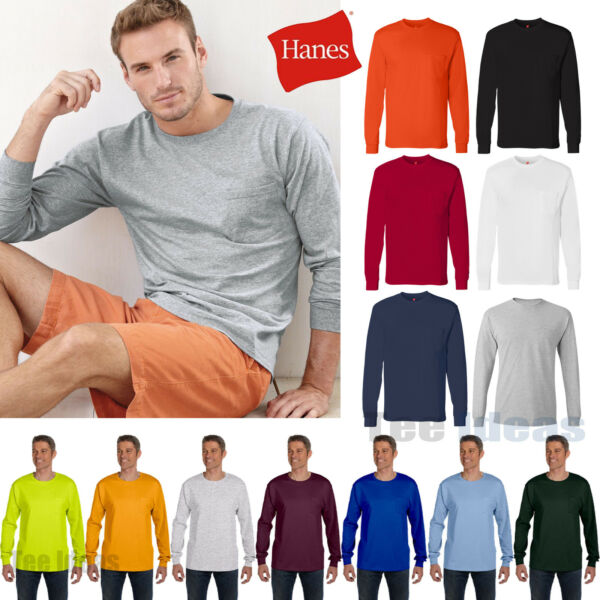 Hanes Mens Tagless 100% Cotton Long Sleeve T-Shirt with a Pocket Tee S-3XL  5596