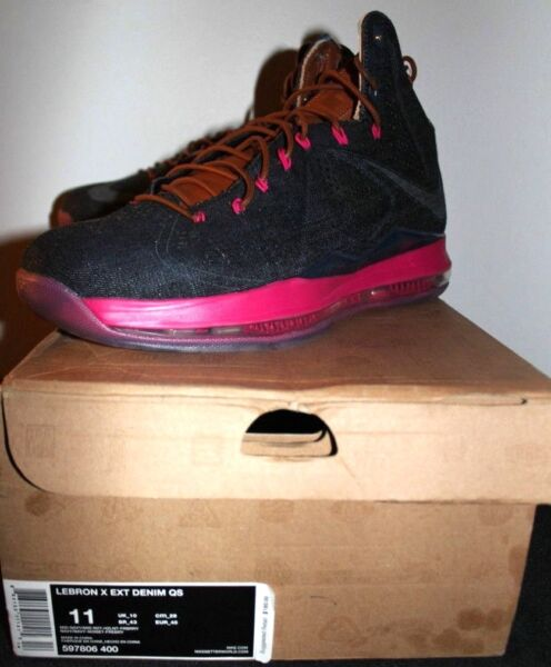 Nike Air Lebron X 10 EXT Denim Pink Sneakers Mens Size 11 Brand New