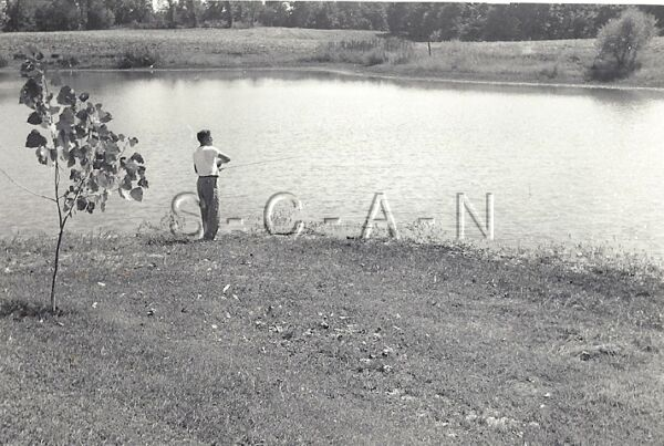 Vintage Large Real Photo- Fishing- Casts out his Line- Looking for the Big One