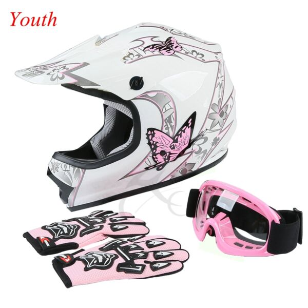 Youth Pink Butterfly Dirt Bike ATV MX Helmet w/Motocross Goggles+gloves S M L XL