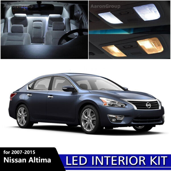 12PCS White Interior LED Light Package Kit for 2007-2015 Nissan Altima