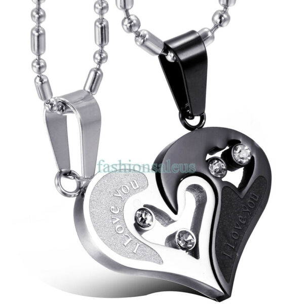 2pcs Heart Couple Necklace Set quot;I LOVE YOUquot; Stainless Steel Pendant Chain Gift $7.99