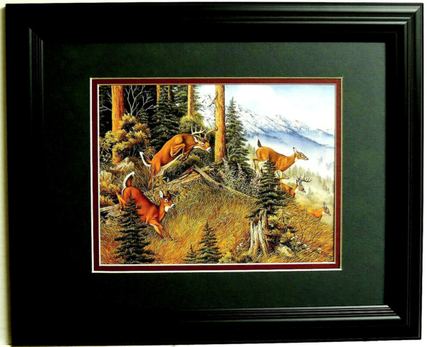 DEER PICTURE BIG BUCK DOES ON THE RUN WILDLIFE DEER HUNTING MATTED FRAMED 11X14 $45.95