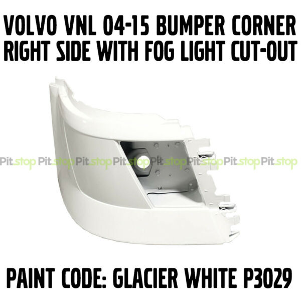 VOLVO VNL 04-15 BUMPER CORNER WITH FOGLIGHT PAINTED WHITE 82721512 RIGHT SIDE