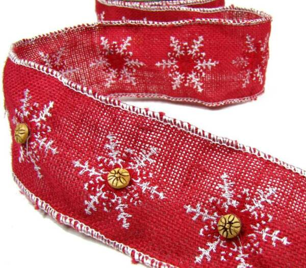 1 Yd Christmas Red Burlap Jute Button Snowflake Wired Ribbon 2 1 2quot;W