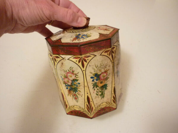 Vintage Metal Tin Box Empty - Floral Ornate Trinket Tobacco Tea Caddy - Holland