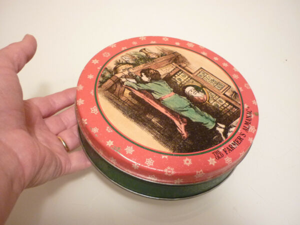 Vintage Tin Metal Box - Christmas Boy Santa Fireplace -Tea Caddy Tobacco Trinket