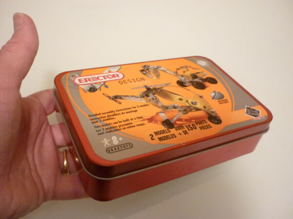 Vintage Empty Tin Metal Box - Erector Set Game -Tea Caddy Tobacco Trinket