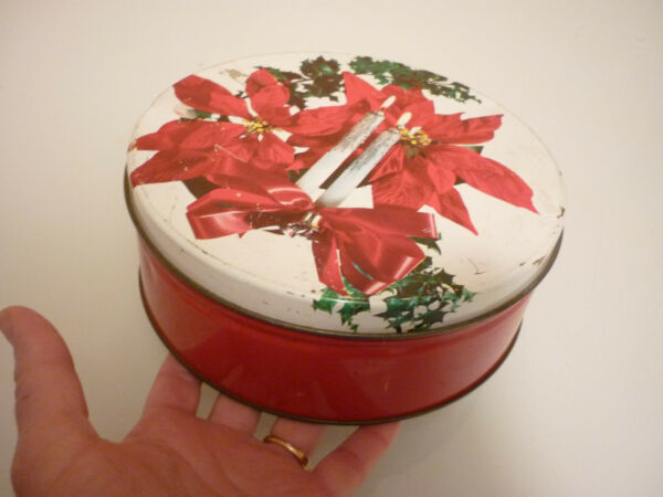 Vintage Tin Metal Box - Christmas Candles - Tea Caddy Tobacco