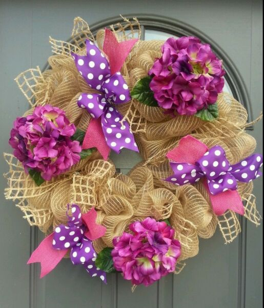 Handmade burlapdeco mesh Welcome Spring PinkPurple Flowers Chevron bow wreath