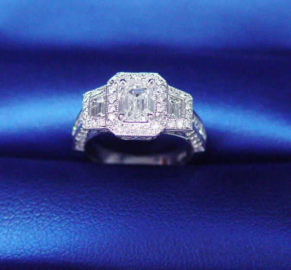 New 2.53 Ct Emerald Cut Diamond Antique Art Deco Engagement Ring  IVVS1 GIA 18K
