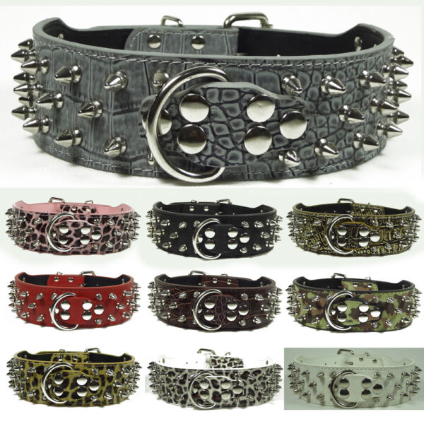 NEW Unisex Spiked Studded Leather Large Dog Collar spikes studs Size S M L XL $11.39