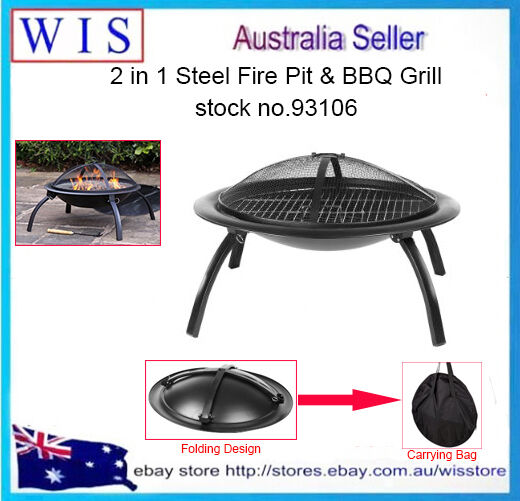 Grilled 66cm Outdoor Fire Pit BBQ Camping Garden Patio Heater Fireplace-93106