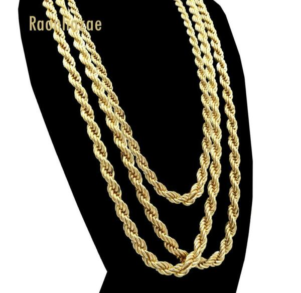 Men Stainless Steel 14k Gold Plated 3 to7mm wide 20quot; 24quot; 30quot; Rope Chain Necklace