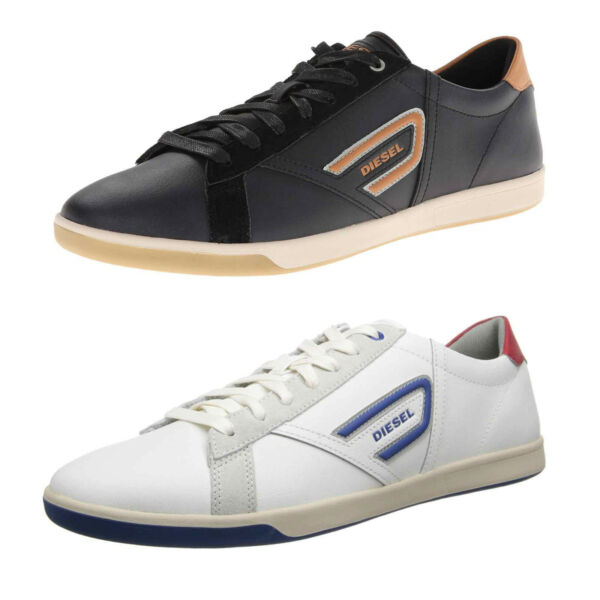Diesel Grantor Mens Shoes Leather Fashion Casual Designer Sneakers Black White