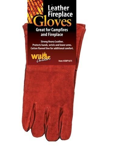 Fireplace Gloves Woodstove Camp Fire Leather 14