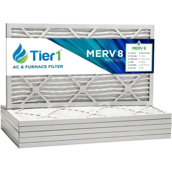 16x25x1 Dust & Pollen Merv 8 Pleated Replacement AC Furnace Air Filter 6 Pack