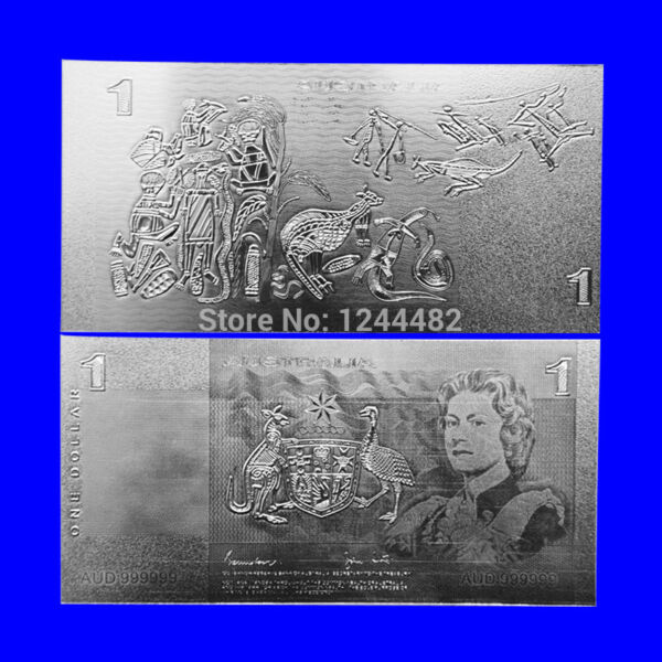 BANKNOTE OLD AUD $1 AUSTRALIAN DOLLAR SILVER HIGH QUALITY NEW MINT!