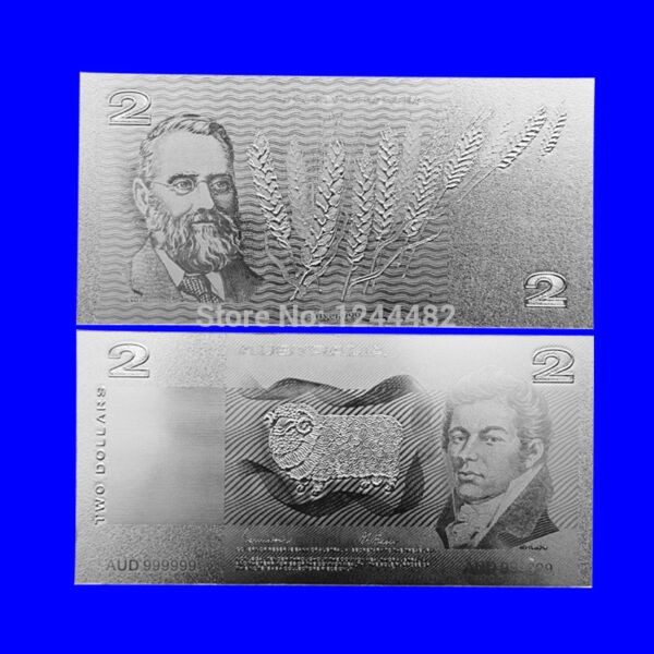 BANKNOTE OLD AUD $2 AUSTRALIAN DOLLAR SILVER HIGH QUALITY NEW MINT!