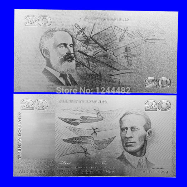 BANKNOTE OLD AUD $20 AUSTRALIAN DOLLAR SILVER HIGH QUALITY NEW MINT!