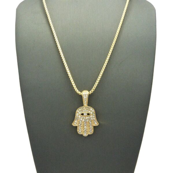 NEW ICED OUT HAMSA HAND PENDANT &2mm24