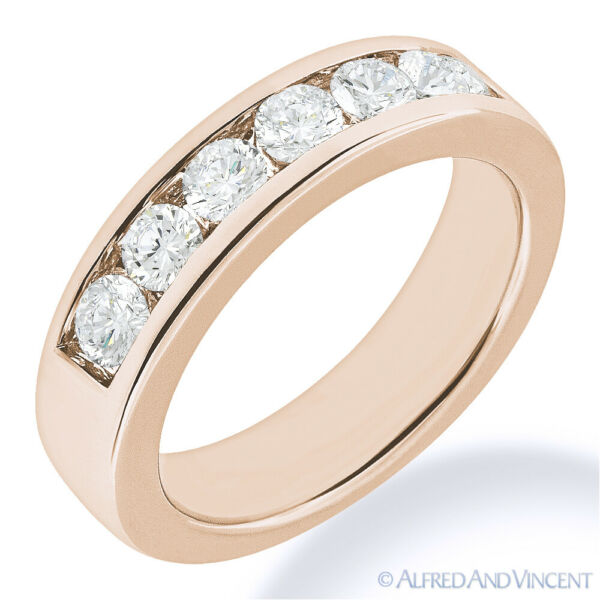 Round Cut Forever Brilliant Moissanite 14k Rose Gold 7-Stone Band Wedding Ring