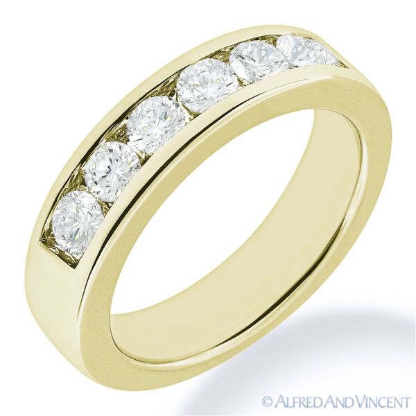 Round Cut Forever Brilliant Moissanite 14k Yellow Gold 7-Stone Band Wedding Ring