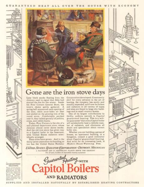 VTG 1927 Capitol Boiler RADIATOR Four Corners General Store Iron WOOD Stove AD