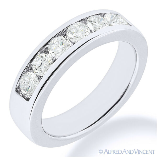 Round Cut Moissanite Channel Setting 7-Stone Ring Wedding Band in 14k White Gold
