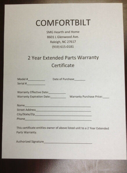 Extended 2 Year Parts Warranty for Comfortbilt Pellet StovesFireplaces  $169 !