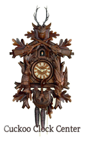 Cuckoo Clock 1-day-movement Carved-Style 37cm Black Forest By Hubert Herr