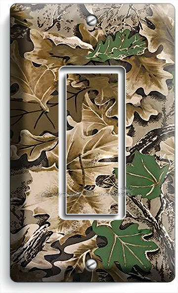 OAK TREE MOSSY CAMO CAMOUFLAGE SINGLE DECORA LIGHT SWITCH WALL PLATE HUNT CABIN