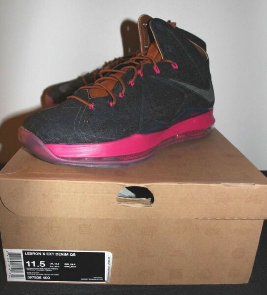 Nike Air Lebron X 10 EXT Denim Pink Sneakers Mens Size 11.5 Brand New
