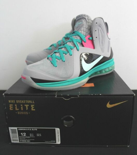 Nike Air Lebron IX 9 Elite South Beach Grey Mint Pink Sneakers Mens Size 12 New