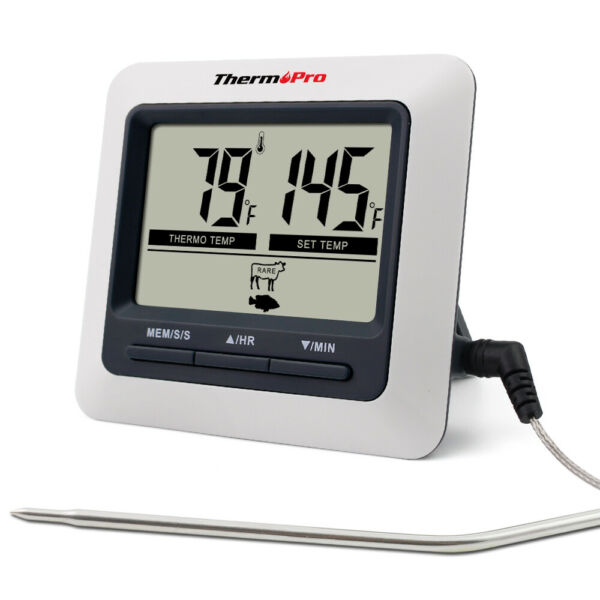 ThermoPro Digital Meat Cooking Remote Thermometer &Timer for BBQ Food Oven Grill