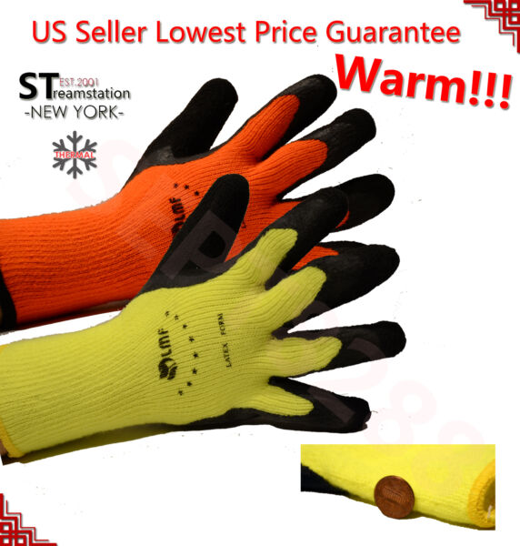 Snow Removal Winter Warm Insulated Lining Rubber Coated Heavy Duty Work Gloves