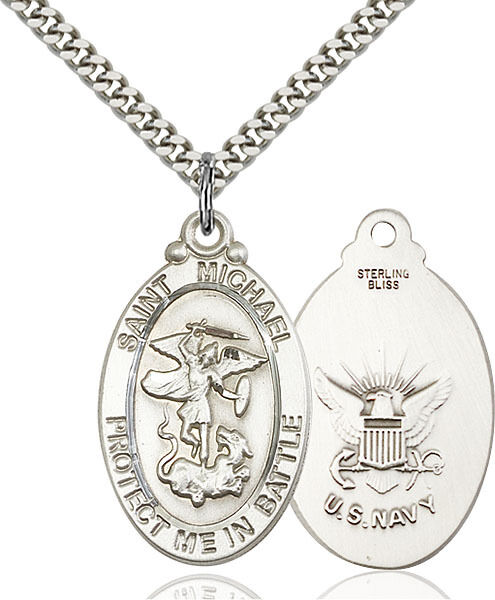 925 Sterling Silver St Michael Navy Military Soldier Catholic Medal Necklace $77.50