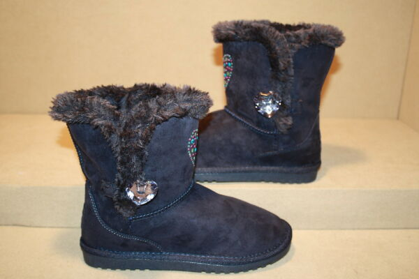 GIRLS NAVY CANYON RIVER BLUES BOOTS WITH FAUX FUR - SEE LISTING FOR SIZES (1117)