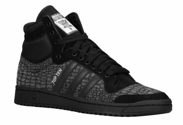 NEW Adidas Originals Top Ten Hi Retro Mens Shoes CROC PATTERN Black Gray S85711