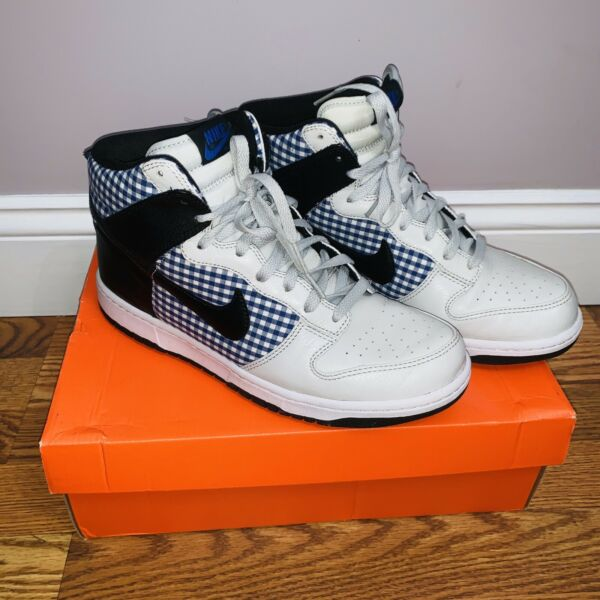 Nike Dunks High Tops Sneakers Gray BlueIndigo Gingham Check Mens 9.5/WMN 11-12