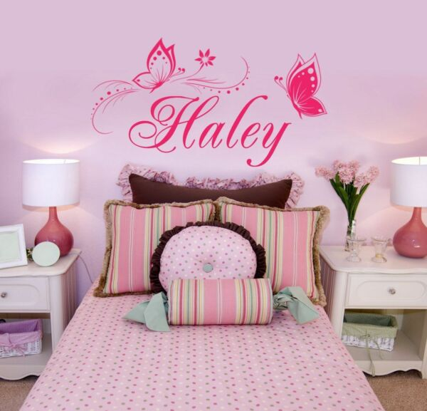 Butterfly Wall Sticker Personalized ONE NAME Vinyl Wall Decal Girl's Bedroom