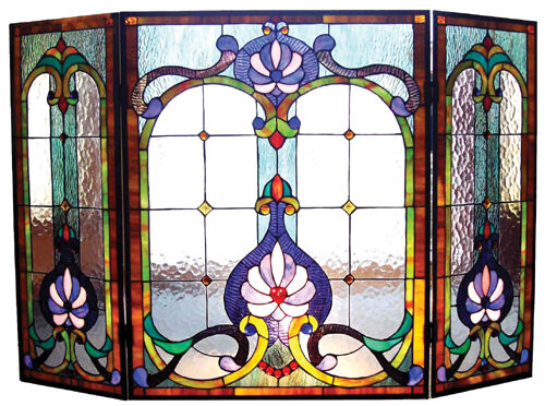 VICTORIAN STAINED GLASS FIREPLACE SCREEN * Art Deco quot; SERENITY LOTUS quot; Blues