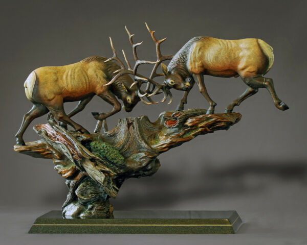 BRONZE Fighting Elk Amazing Detail!!! Limited Edition SCULPTURE by BARRY STEIN