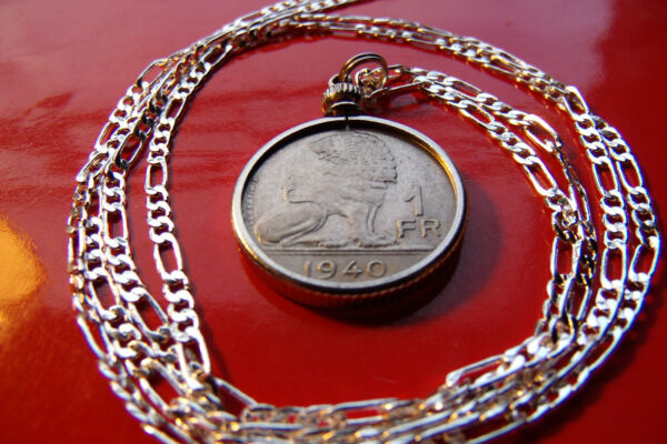 WWII Era Belgian Lion Coin Pendant on a 30quot; 925 Sterling Silver Chain. $32.40