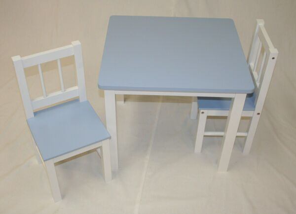 eHemco Kids Table and 2 Chairs Set White Bases and Blue Tops