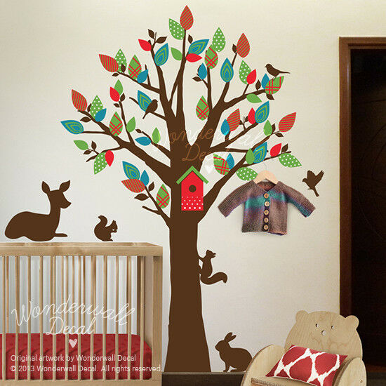 Pattern Leaf Tree deer Wall Decal Functional Tree can use as hanger Wall Sticker