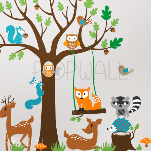 Woodland Tree with Bear Deer Raccoon Fox Children Playroom Nursery Wall Decal