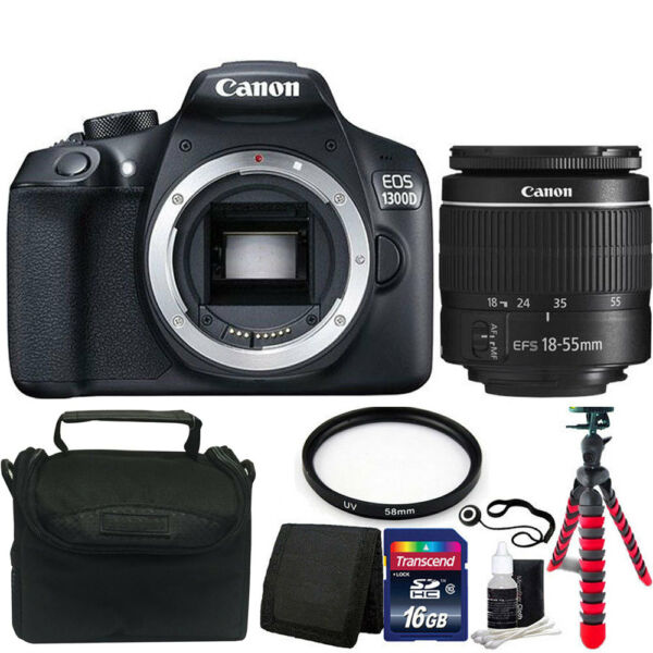 Canon EOS Rebel 1300D/T6 18MP DSLR Camera w/18-55mm Lens + Accessory Bundle