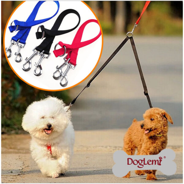 Nylon Double Lead Coupler Twin Dog Two Pet Dog Walking Duplex Leash Splitter GBP 4.99
