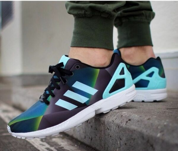 NEW Adidas Originals ZX Flux Men's Shoes AQUA BLACK WHITE PRISM RUNNING B34516